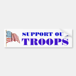 Support Our Troops Wording and USA American Flag Car Bumper Sticker