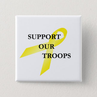 Support Our Troops Yellow Ribbon Button