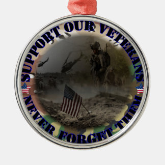Support our veteran… the USA Silver-Colored Round Decoration