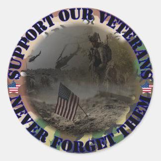 Support our Veterans USA Runde Sticker