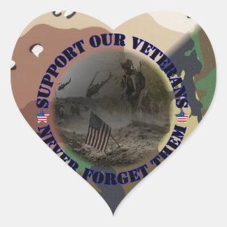 Support our Veterans USA Herz Aufkleber