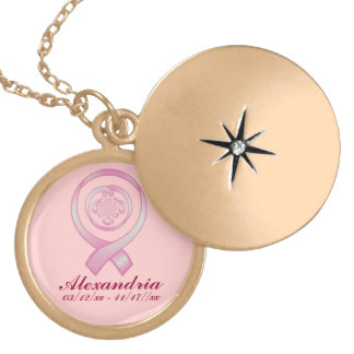 """""""Support Surrounds w/ Love"""" - In Memorium ~ Breast Gold Plated Necklace"""