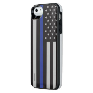 Support the Police Thin Blue Line American Flag iPhone SE/5/5s Battery Case