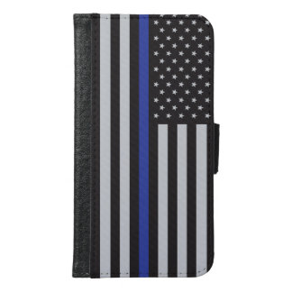 Support the Police Thin Blue Line American Flag Samsung Galaxy S6 Wallet Case