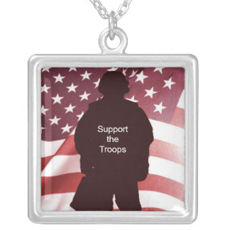 Support the Troops Patriotic Military Personalized Necklace