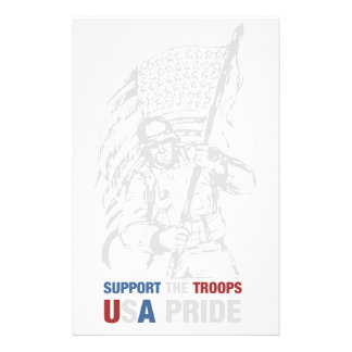 Support The Troops - USA American Pride Customised Stationery