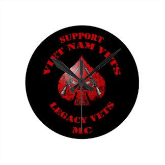 Support Viet Nam Vets Legacy Vets MC - Spade Clo Round Wallclock