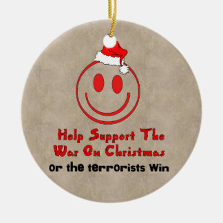 Support War on Christmas Double-Sided Ceramic Round Christmas Ornament