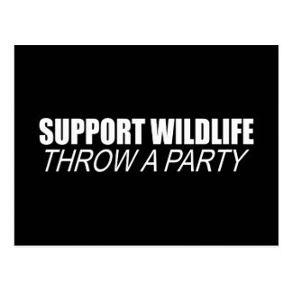 SUPPORT WILDLIFE THROW A PARTY POST CARD