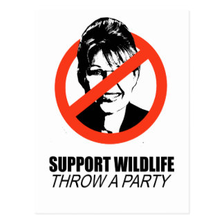 SUPPORT WILDLIFE THROW A PARTY POSTCARD