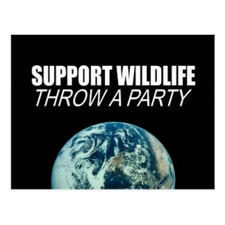 SUPPORT WILDLIFE THROW A PARTY POSTCARDS