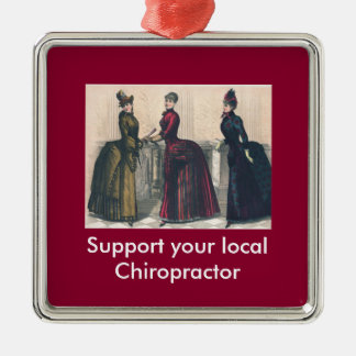 Support your Local Chiropractor Silver-Colored Square Decoration