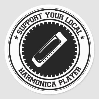 Support Your Local Harmonica Player Classic Round Sticker