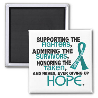 Supporting Admiring Honoring 3.2 Ovarian Cancer Square Magnet