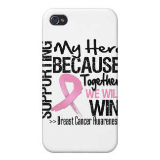 Supporting My Hero - Breast Cancer Awareness Case For iPhone 4