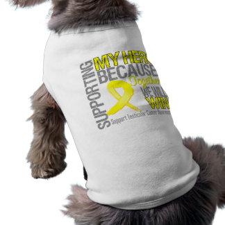 Supporting My Hero - Testicular Cancer Awareness Sleeveless Dog Shirt