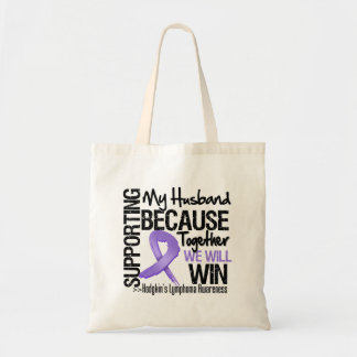Supporting My Husband - Hodgkin's Lymphoma Canvas Bags