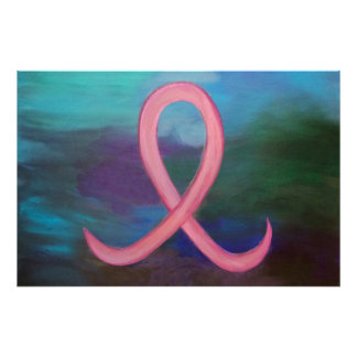 Supportive Bold Pink Breast Cancer Ribbon Photo Art