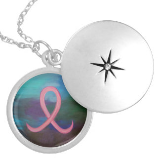 Supportive Bold Pink Breast Cancer Ribbon Silver Plated Necklace