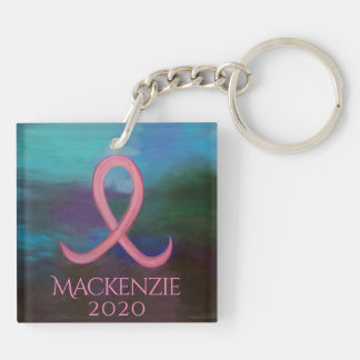 Supportive Gift   Bold Pink Breast Cancer Ribbon Key Ring