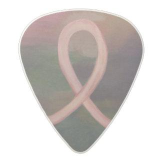 Supportive Rustic Awareness Ribbon Breast Cancer Acetal Guitar Pick