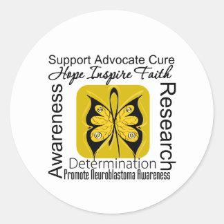 Supportive Words Collage Neuroblastoma Round Sticker