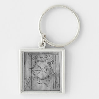 Supposedly perpetual motion mallets and wheel Silver-Colored square key ring