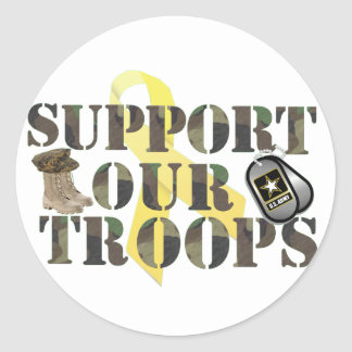 supprot our troops classic round sticker