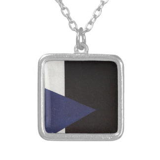 Suprematism with Blue Triangle and Black Square Square Pendant Necklace