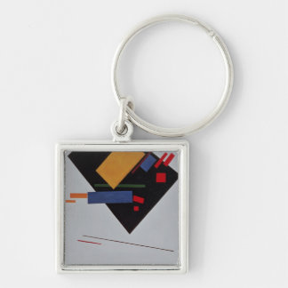 Suprematist Composition, 1915 Silver-Colored Square Key Ring