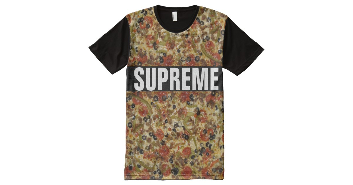Supreme pizza all over print t shirt zazzle for Vista print tee shirt
