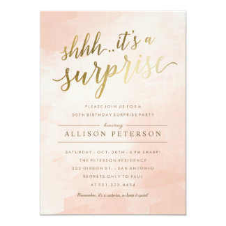 Suprise Party Invitations - Modern Faux Gold