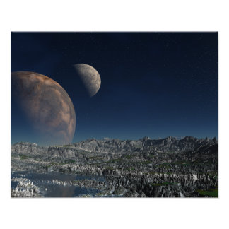 Surana Alien Landscape with Two Moons Poster