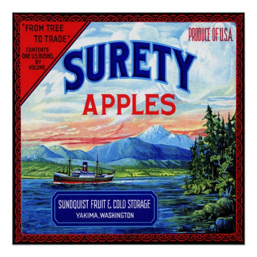 SURETY APPLES VINTAGE FRUIT CRATE LABEL 1910 POSTERS