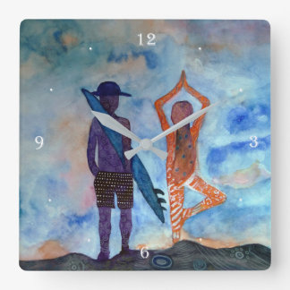 Surf and Yoga Square Wall Clock
