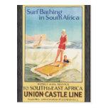 Surf Bathing In South Africa , Vintage Postcards