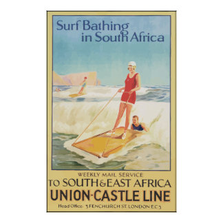 Surf Bathing In South Africa , Vintage Poster