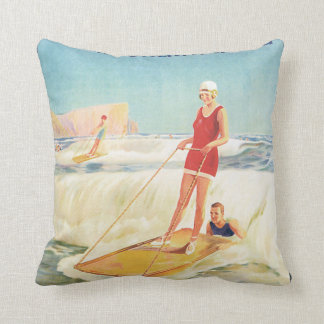 Surf Bathing in South Africa Vintage Travel Poster Cushion