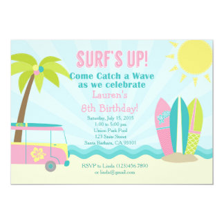 Surf Birthday Invitation for Girl in Pink!
