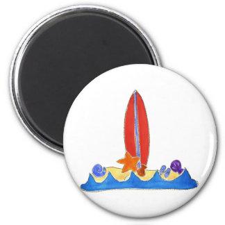 Surf Board Beach 6 Cm Round Magnet