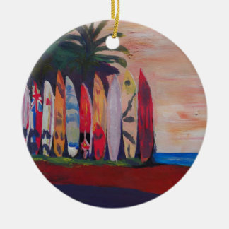 Surf Board Fence Wall at the Seaside Christmas Ornament