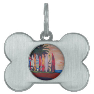 Surf Board Fence Wall at the Seaside Pet ID Tag
