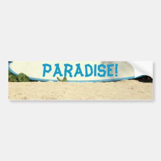 surf board on a beach bumper sticker