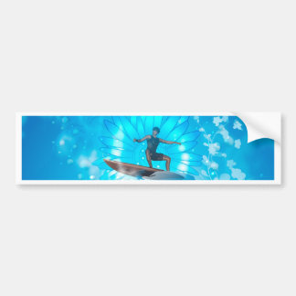 Surf boarders on blue background bumper stickers