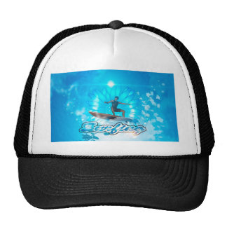 Surf boarders on blue background mesh hat