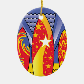 Surf Boards, Retro Art Deco Christmas Ornament