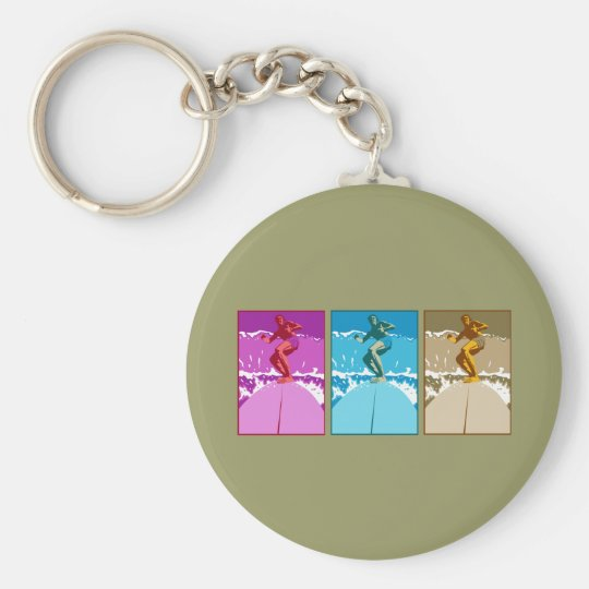 Surf California Californian surfers surfing gifts Basic Round Button Key Ring