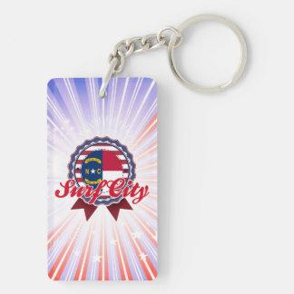 Surf City, NC Double-Sided Rectangular Acrylic Key Ring