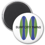 Surf City Twin Surfboards 6 Cm Round Magnet