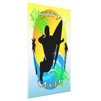 "Surf Club - Surfer 24""x36"" Stretched Canvas Print"